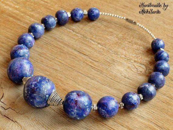 Blue necklace Navy necklace Dark blue by HandmadeByAleksanta