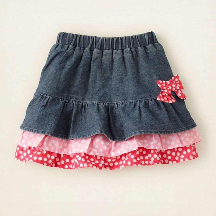 baby girl - bottoms - tiered print denim skirt | Children's Clothing | Kids Clothes | The Children's Place