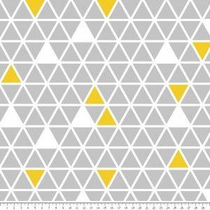 Żółto-szare trójkąty Tkanina Bawełniana :Nadruk Cyfrowy