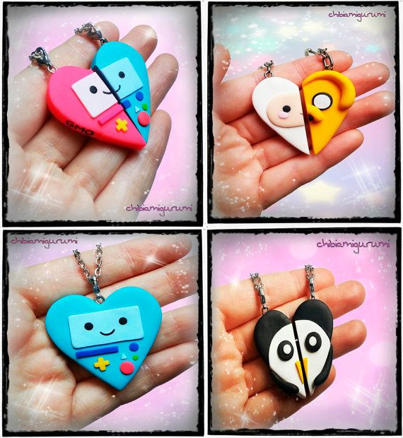 BFF Set friendship inspired by Finn the human, Jake the dog, Beemo, GMO and Gunter from Adventure Time. 100 % handmade by polimer clay. For this