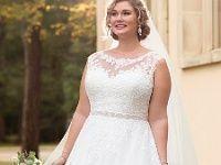 Brautkleid in A-Form XXL-Komfortgröße aus matter…