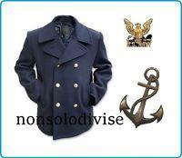 Giacca Giaccone Cappotto Marina Marinaio Vintage Navy Pea Coat Marine Army Blu