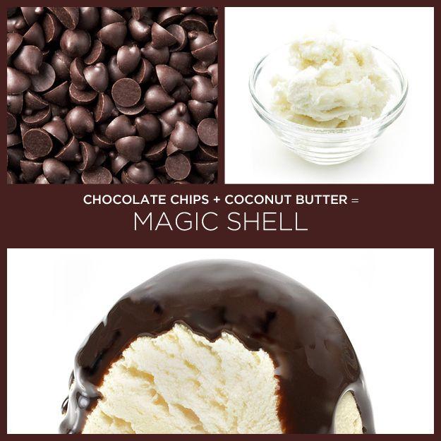 Pedaços de chocolate   óleo de coco = cobertura dura para sorvete | 34 receitas insanamente simples com apenas dois ingredientes