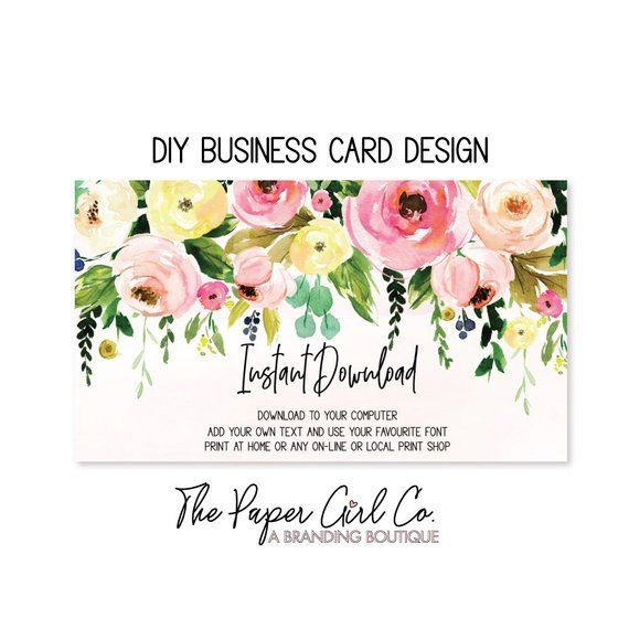 Business Card Flower Business Card Diy Business Card Blank Etsy Diy Business Cards Flower Business Cards
