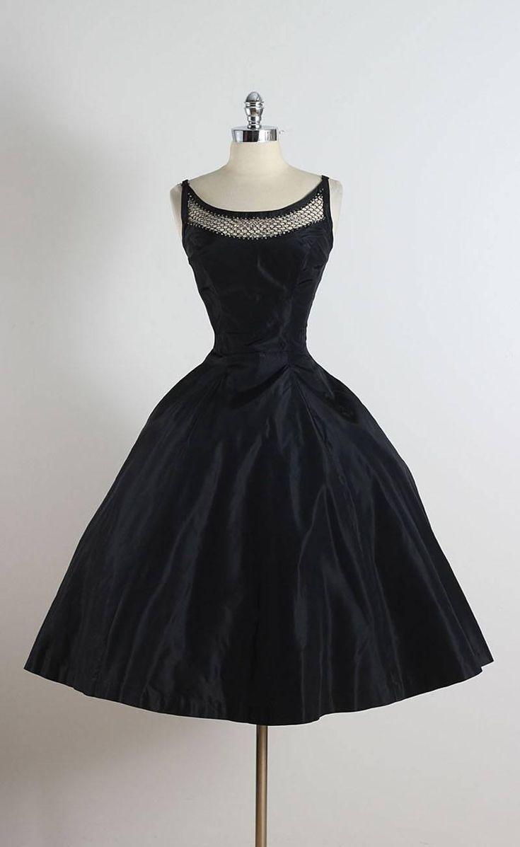 Vintage 1950s Black Rhinestone Lattice Dress