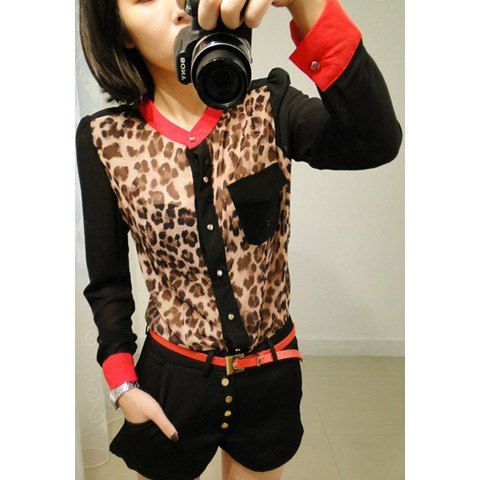 Fashinable and Alluring Stand-Up Collar Leopard Pattern Color Block Long Puff Sleeve Shirt For Women, AS THE PICTURE in Blouses | DressLily.com