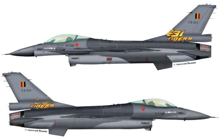 "F-16A Block 15AG OCU #FA-124 (s/n 89-0002, c/n 6H-124) from 31 sqn ""Tigers"" Belgian Air Force - BAF. Tiger Meet 2014. June 2014."