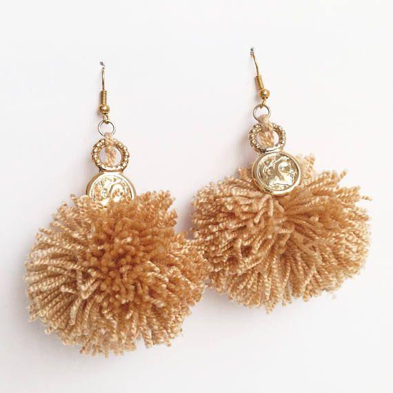 Beige Pom Pom Cute Dangle Earrings / Pom Pom Statement /