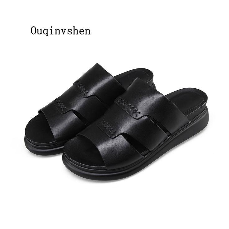 Flat with Slides Sandalias de Plataforma Para Mujer 2017 New Pattern Shallow Genuine Leather Leisure Simple Large Size 34cm-43cm