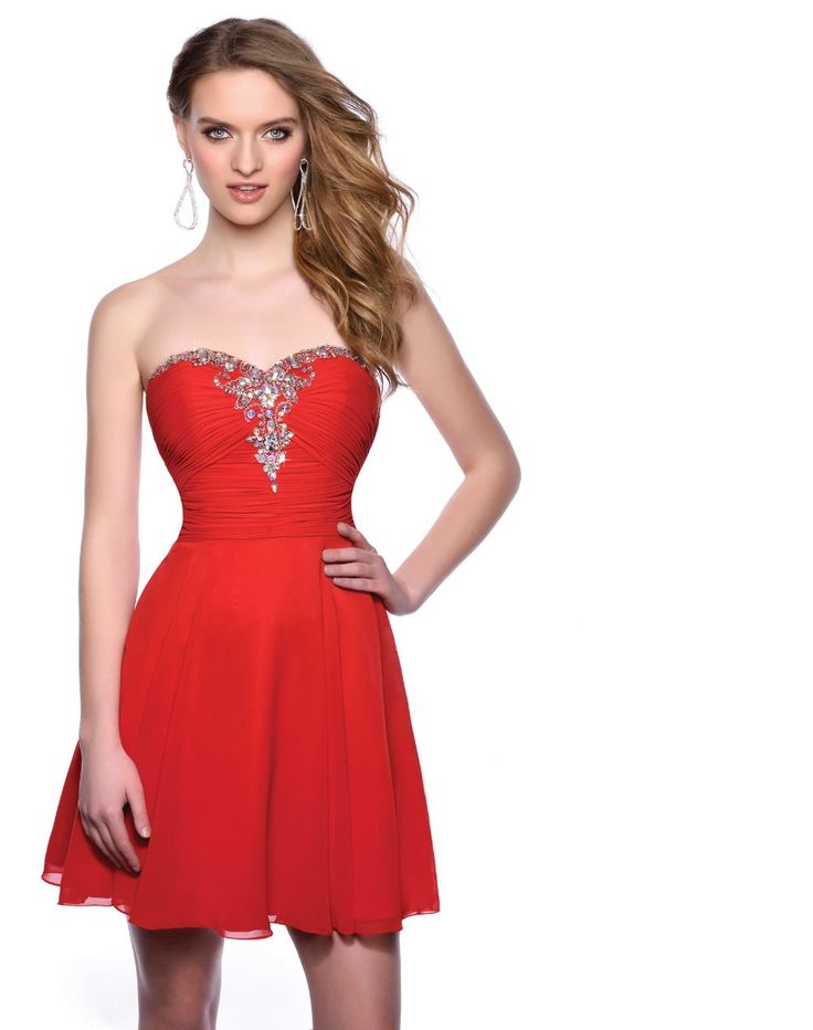 A-Line Sweetheart Red Chiffon Crystals Beads Cheap Homecoming Dresses 2015 Short Cocktail Dresses Prom Party Dresses KC15321