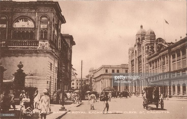 Chartered Bank & Royal Exchange on Cleve St, Calcutta', circa 1900. Chartered Bank & Royal Exchange on Clive St, Calcutta, India. The Chartered Bank of India, Australia and China (The Chartered Bank) originated in London in 1853 by James Wilson (1805-1860), by a Royal Charter from Queen Victoria. The bank was influential in the development of British colonial trade throughout the East of Suez, in 1858, it opened its first branch in Calcutta.