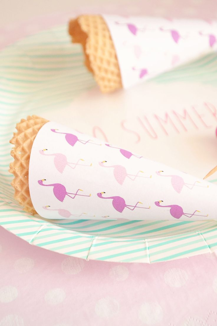FREE Printable Flamingo Party Ice Cream Cone Wrappers