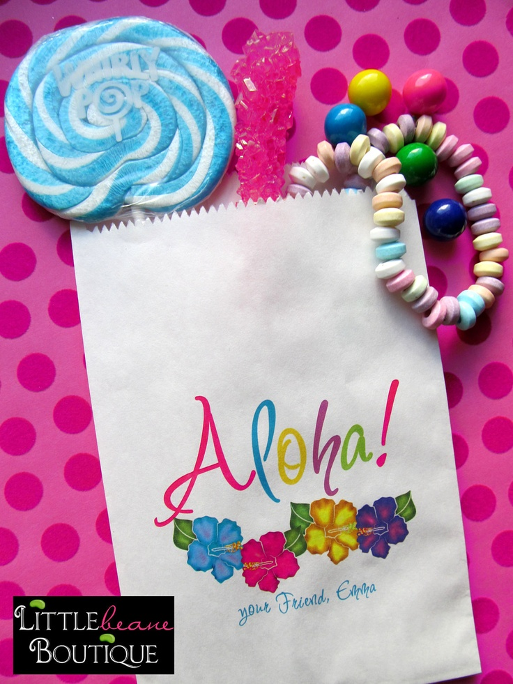 birthday hawiian luau   Luau Birthday Party , Hawaiian Luau, Favor bags, candy bags, Candy ...