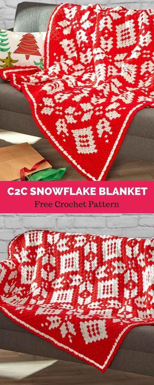 Corner-to-Corner Snowflake Blanket [ FREE CROCHET PATTERN   Punto ...