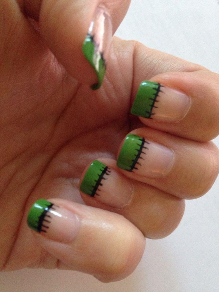 French tip Frankenstein nails for Halloween.: