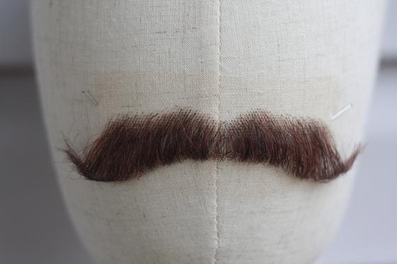 Fake mustache  false mustache  brown fake moustache  big realistic mustache