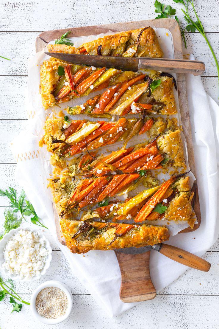 Sliced Roasted Carrot & Herby Feta Galette by Baking The Goods     @beckysuebakes     bakingthegoods.com