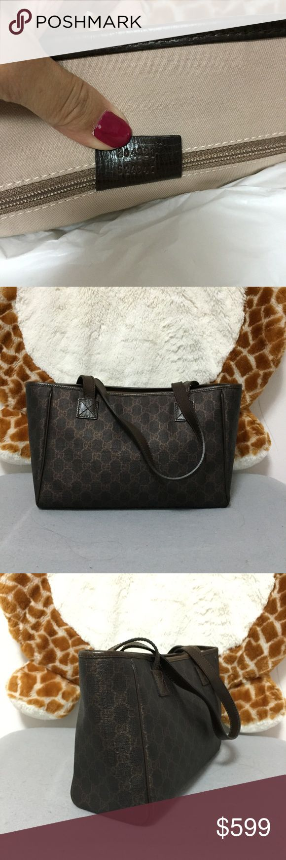 """BNWT Gucci GG Web Canvas Joy Tote Ebony w Bronze Material: Canvas w/ GG web details Leather trim and shoulder straps Ebony color with shimmer bronze gg Front slip pocket  Interior fabric liner Interior zip pocket and patch pockets Approximate measurements: 12""""X8""""X5"""" Great purse to carry around! Gucci Bags Shoulder Bags"""