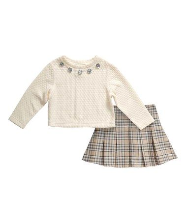 Loving this Cream & Gray Plaid Pleated Skirt & Pullover - Girls on #zulily! #zulilyfinds