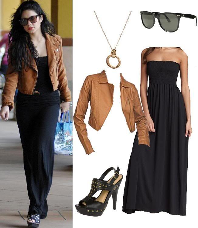 black maxi, caramel leather cropped jacket
