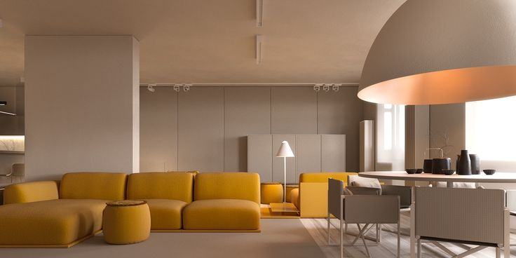 Our second space uses many of the same ideas – without children in mind. Requiring less space sans nursery, spaces are more spacious and monotone, stretching into blank canvasses for statement pieces. In the lounge, a mustard six-seater bends around a corner, cradling an ottoman. Tossing cushions to the side, the grey expanse behind evokes a feeling of calm. A large dome light beams copper lights over a white dining table, which is joined by white standing lamps and opaque block windows…