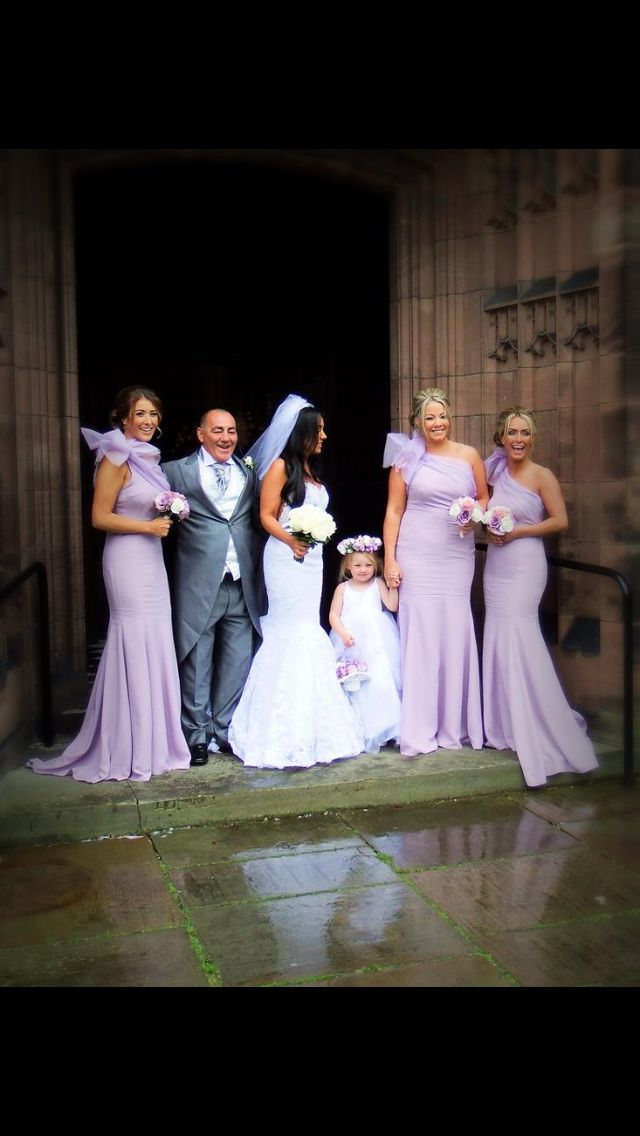 Kirsty Doyle bespoke bridesmaids. Claire wanted a soft lilac hue with organza detailing on her bridesmaid gowns. Classic KD mermaid style gown. #kirstydoyle #bespoke #bridesmaids