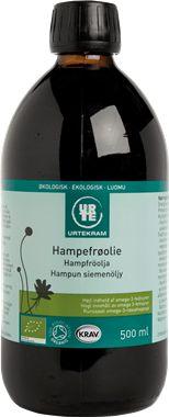 Hampfrøolie fra urtekram sælges også hos Irma.dk