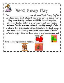 At the end of the year, we do theme days such as Book Swap and Game Day.  Print this FREE Download letter to send home to parent to explain what th...