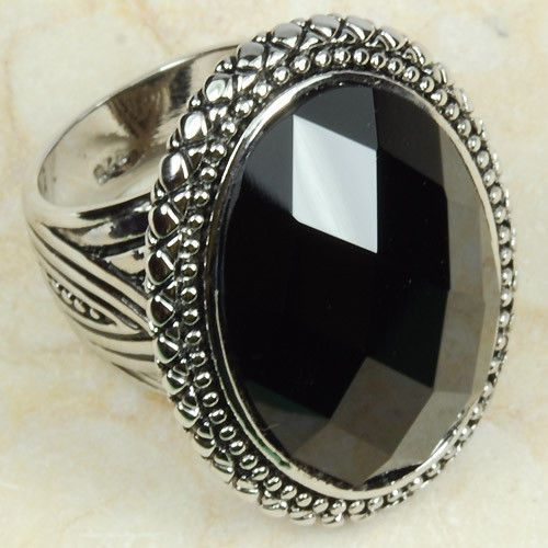 Round Gothic Big Black Onyx Natural Stone 925 Sterling Silver Men Women Ring