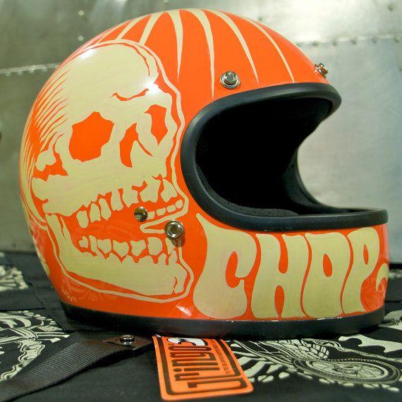 Hand Painted Biltwell Gringo Full Face Helmet     Orange and white skull and lettering