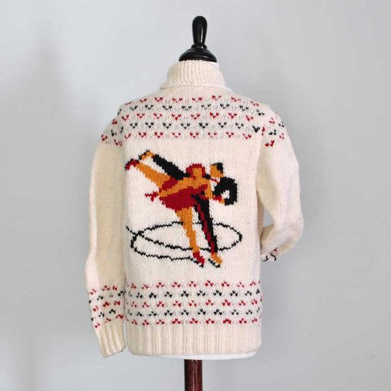 NEW ICE DANCERS - ICE SKATING SWEATER HAND KNIT FROM A VINTAGE MARY MAXIM KNITTING PATTERN  READY TO SHIP IN SIZE 36 (womans small)    This