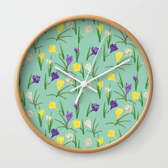 Colorful crocus flowers Wall Clock