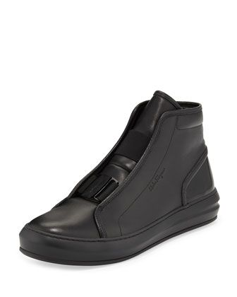 Ground Buckle-Front Calfskin High-Top Sneaker, Black by Salvatore Ferragamo at Neiman Marcus.