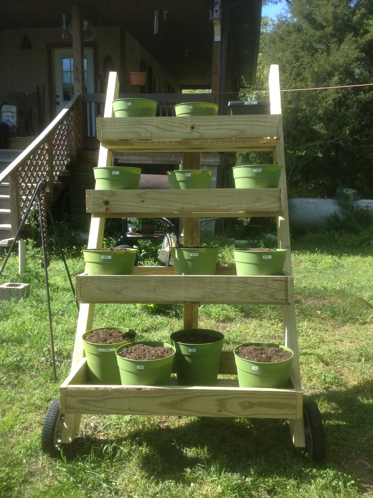 Outdoor Movable Herb Garden Put Wheels On The Pallet