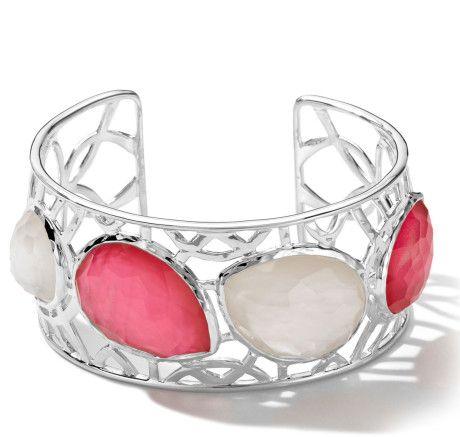 Ippolita Sterling Silver Wonderland Cutout 4stone Cuff in Peonymotherofpearl in Pink