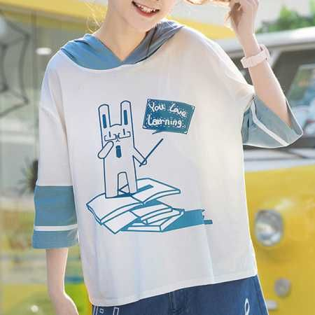 Cute rabbit sweatshirts for teenage girl in blue and white hoodie
