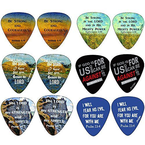 Christian Guitar Picks - Be Strong - 12 pack - Celluloid Medium - Best Stocking Stuffers for Thanksgiving Christmas Birthday - Worship The Lord Excitedly - Cool Guitar Gifts with Bible Verses