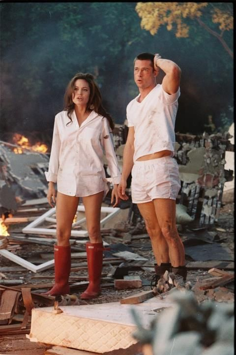thank you HBO for playing Mr & Mrs Smith right now because this just gave me the idea of halloween costumes=D