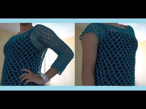 Blusa Manga Larga a Crochet - YouTube