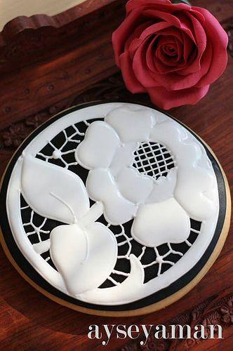 black white royal icing cookie
