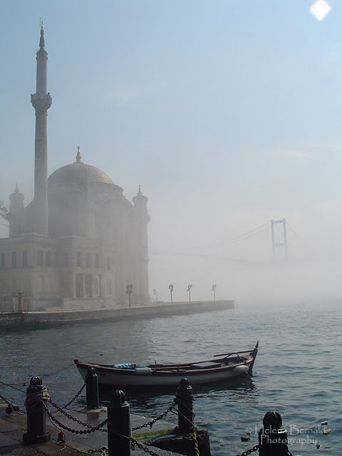Ortakoy Mosque with fog in Bosphorus, Istanbul, Turkey