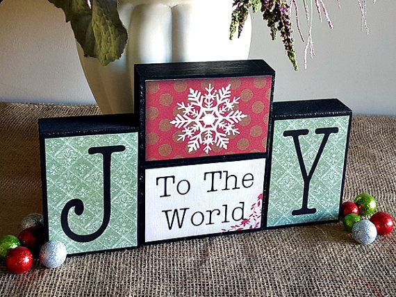 Joy To The World Sign - Christmas Wood Blocks - Holidays Home Decor - Christmas Gift Idea - Winter Decoration - Christmas Decoration