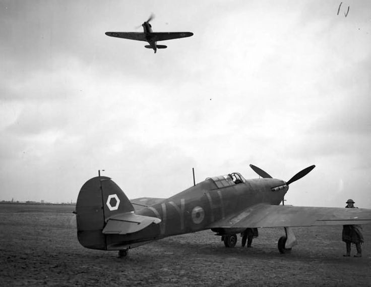 Hurricane Mk I code VY-H of No. 85 Squadron RAF stands at readiness at Lille Seclin, France 1940