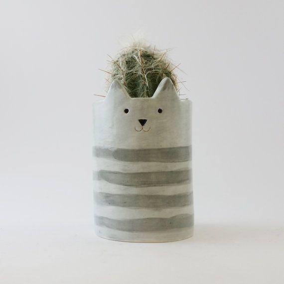 Stripey Cat Planter Ceramic Grey Cat  Pen от MinkyMooCeramics