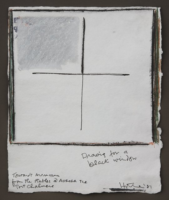 Ralph Hotere - Drawing for a Black Window - Towards Aramoana From the Stables @ Aurora Tce Port Chalmers 1981