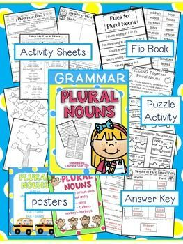 Students will practice and understand the rules of plural nouns with these engaging activities and posters. Students will use the rules to identify regular plural nouns and irregular plural nouns. Answer keys and directions are included for easy use. Students will be engaged in activities that will help them learn how to correctly write plural nouns.