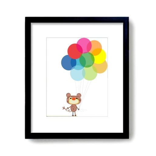 hardtofind. | Up and away multicoloured balloon art print