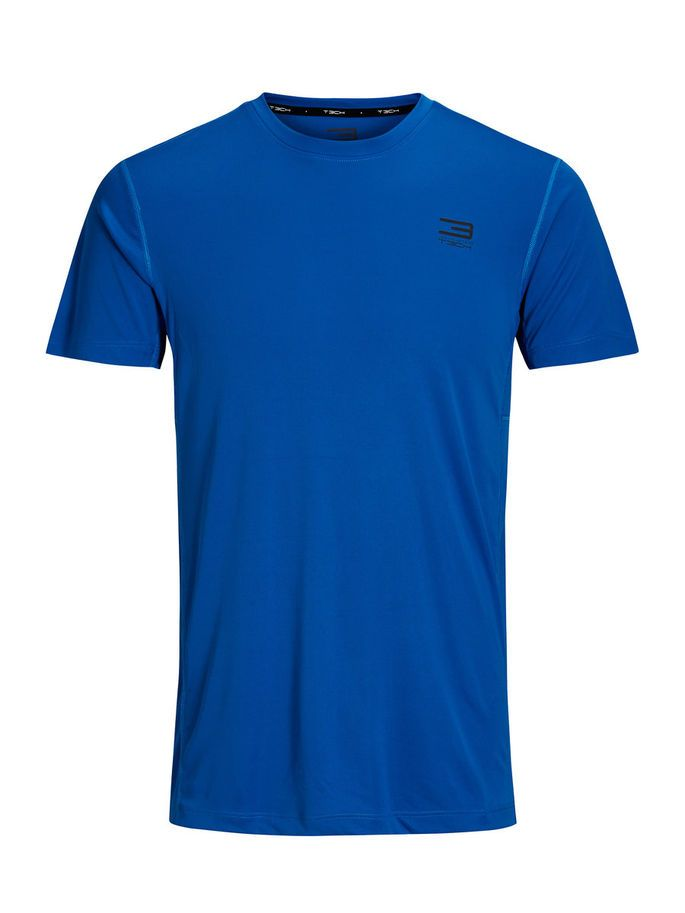 Performance sports t-shirt, engineered for movement, with anti-chafing flatseams, in black and pop blue   JACK & JONES #gym #gear #training #sports #athletic #athleisure