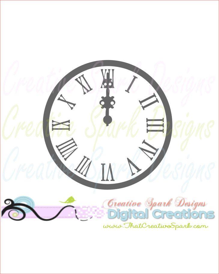 Midnight Clock Svg Dxf Png Digital Image For Scrapbooks Vinyl
