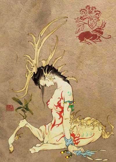 《山海經》記錄的人身馬腿女孩 From shan hai jing